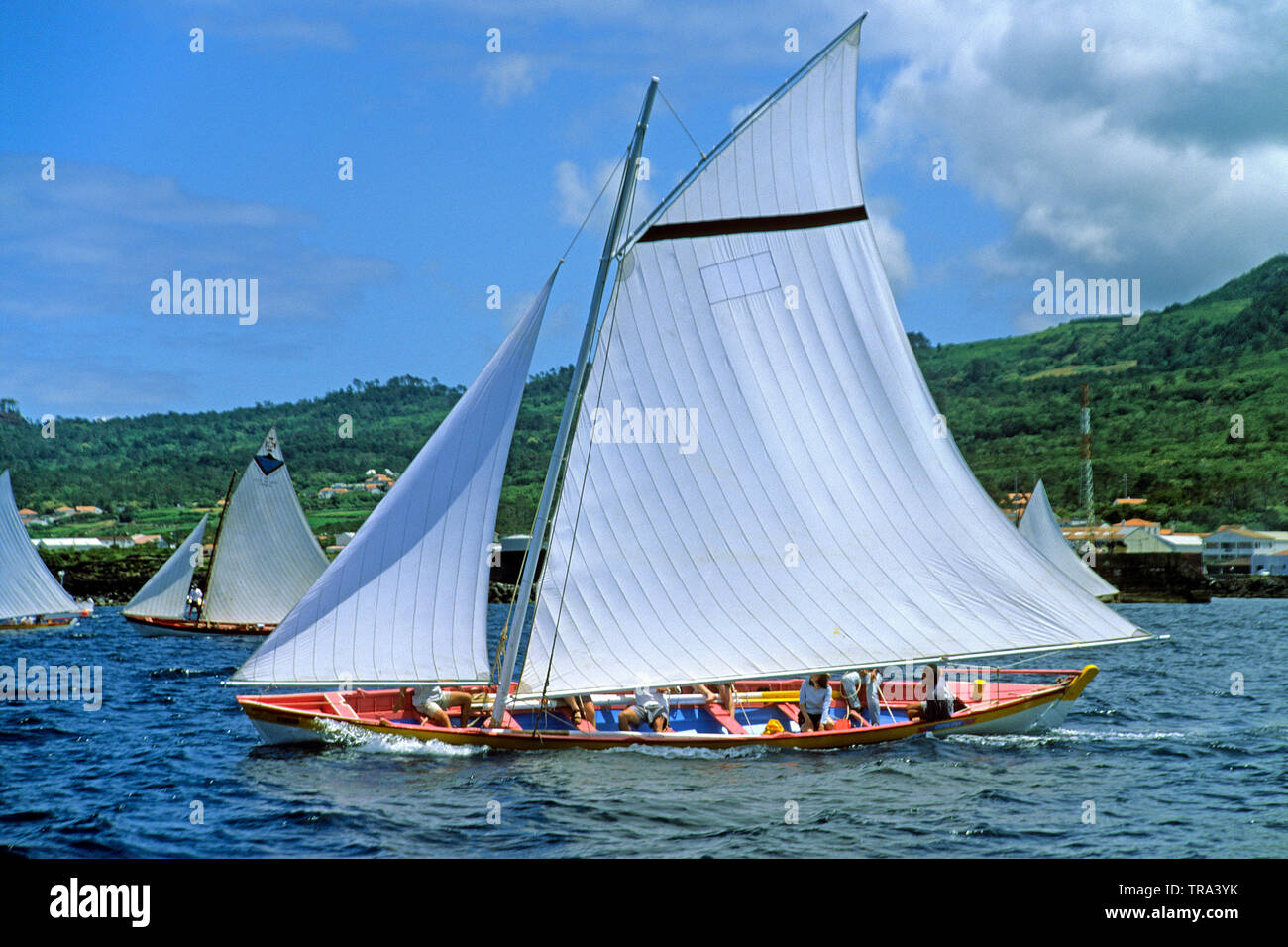Former whaling boats at traditionall annual whaling boat regatta, Sao Roque, Pico island, Azores, Portugal - Stock Image
