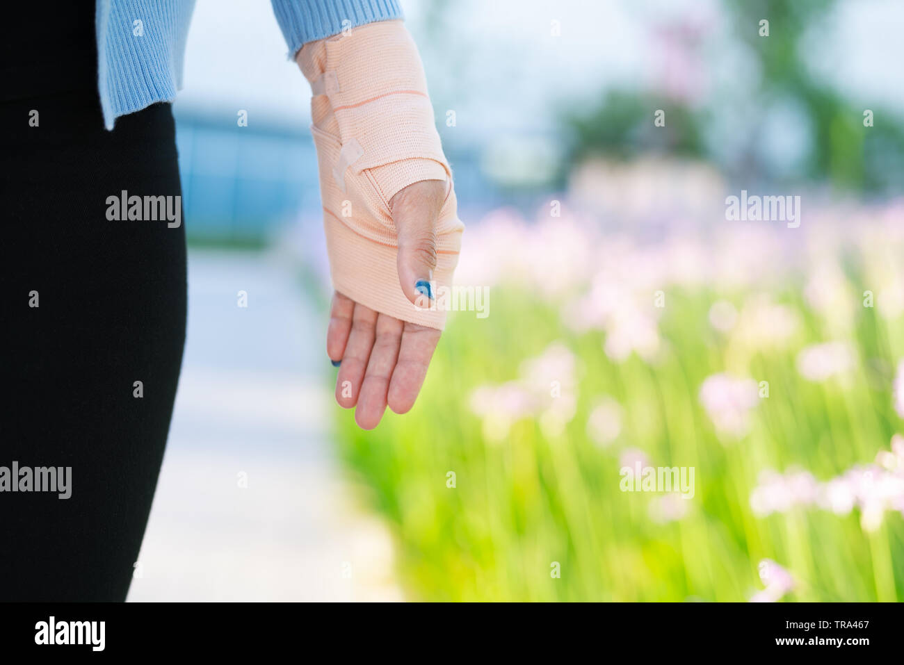 Arm Splint Injured Female Hand With Lower Body Hand Bandage With