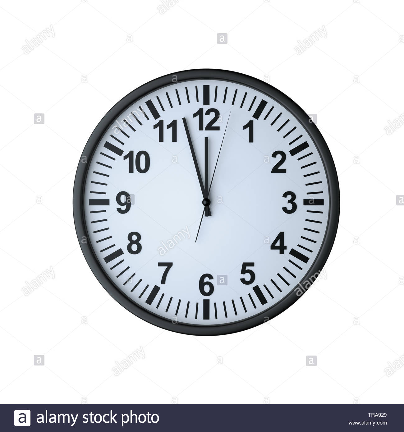 Clock face showing twelve o'clock , isolated on white , 3d render - Stock Image