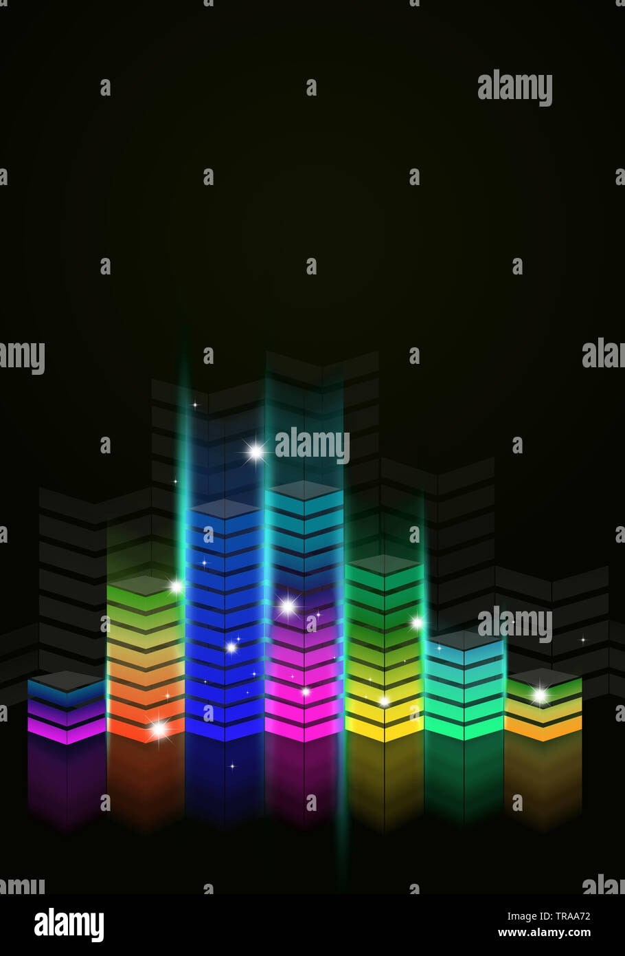 multicolor music equalizer flyer for loud party events Stock Photo