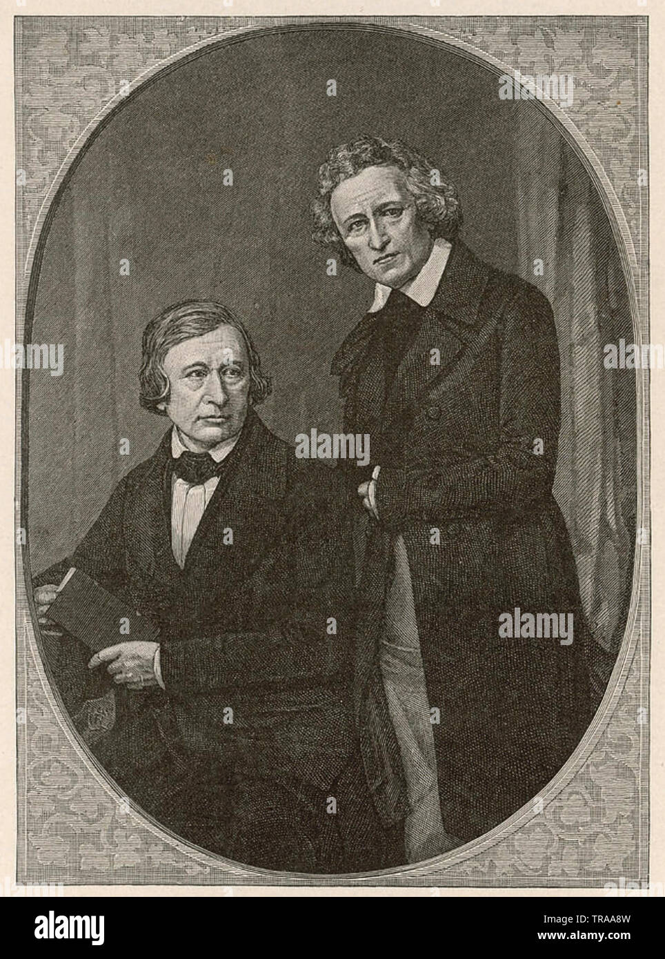 BROTHERS GRIMM German academics and folk story collectors with Wilhelm at left and Jacob about 1850 - Stock Image