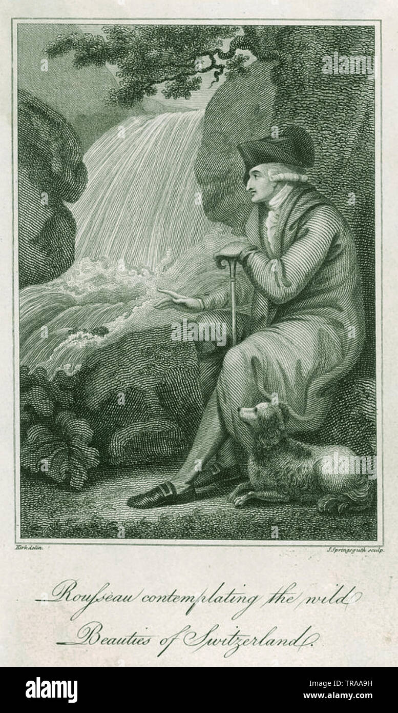 JEAN-JACQUES ROUSSEAU (1712-1778) Gevevan philosopher,writer and composer contemplating a waterfall in Switzerland - Stock Image