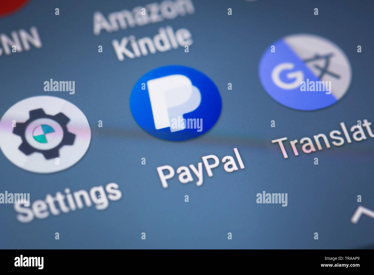 Paypal logo icon on mobile phone screen Stock Photo