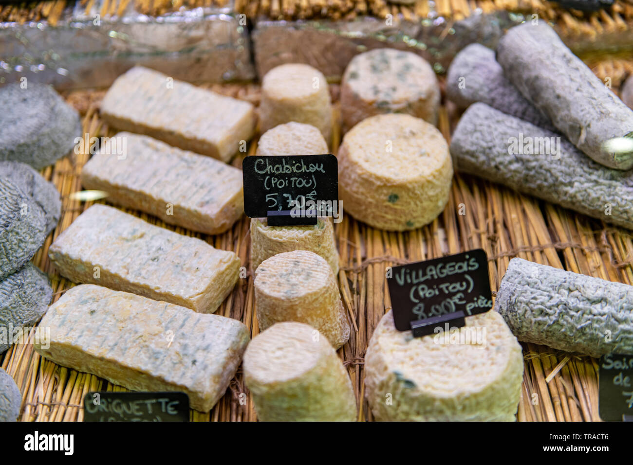 Selections of French Cheese at Farmer's Market in Libourne, France - Stock Image