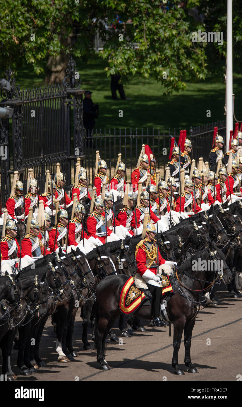 Horse Guards Parade, London, UK. 1st June 2019. Life Guards of The Household Cavalry (pictured), along with soldiers of the Household Division, The King's Troop Royal Horse Artillery and musicians from the Massed Bands parade on Horse Guards for the final formal Review before Trooping the Colour on 8th June 2019 and are inspected by HRH The Duke of York. Credit: Malcolm Park/Alamy Live News. Stock Photo
