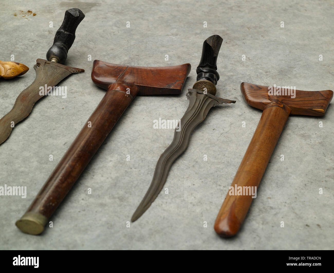 Large collection of Keris blades from Malaysia and Java, a historic weapon used in South East Asia - Stock Image
