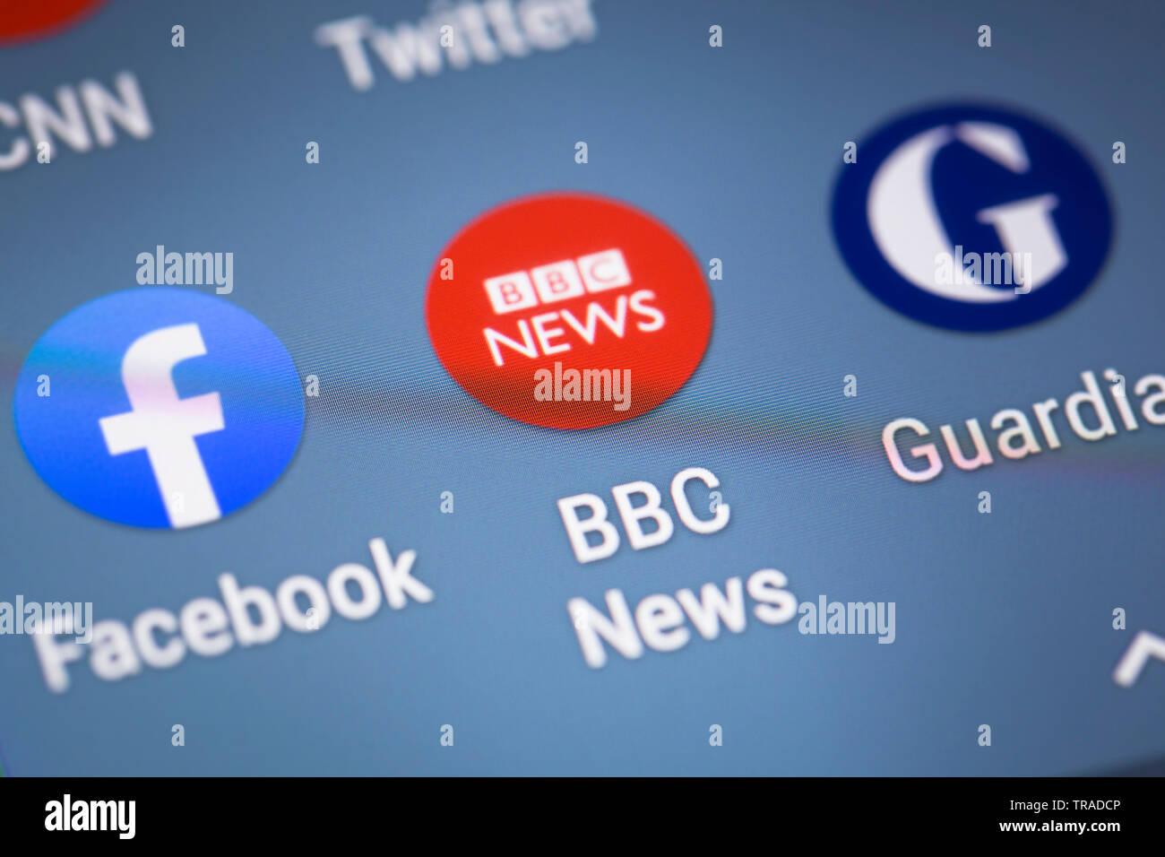 BBC news logo icon on mobile phone screen Stock Photo