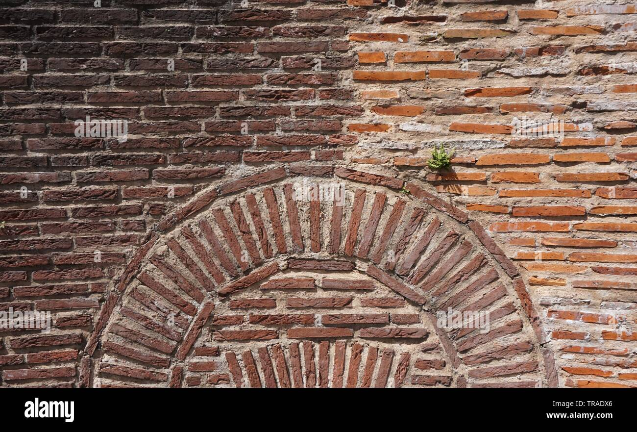 Two-Colored Brick wall Stock Photo