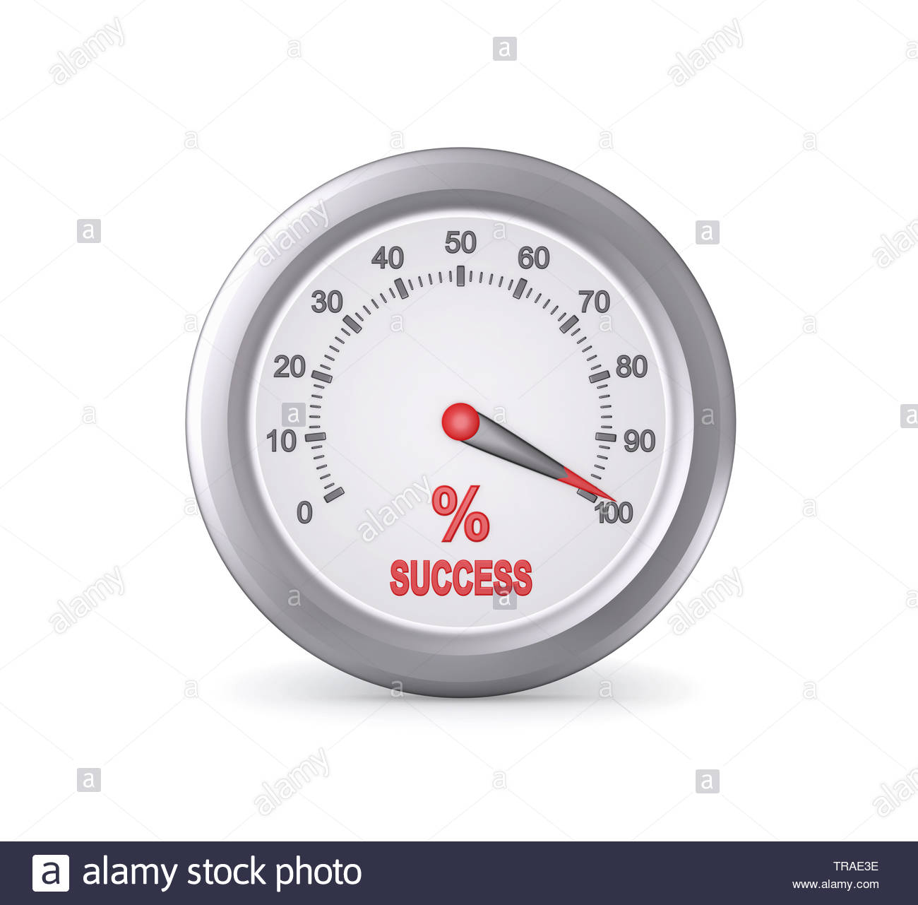 Success Meter Indicate Maximum , isolated on white , 3d render - Stock Image