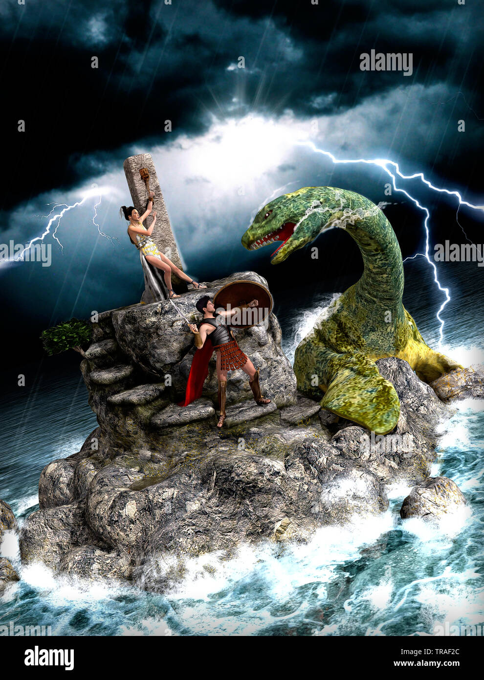 Perseus saving Andromeda, who was offered as a sacrifice to appease the gods, from a sea monster, Greek mythology tale, 3d render illustration - Stock Image