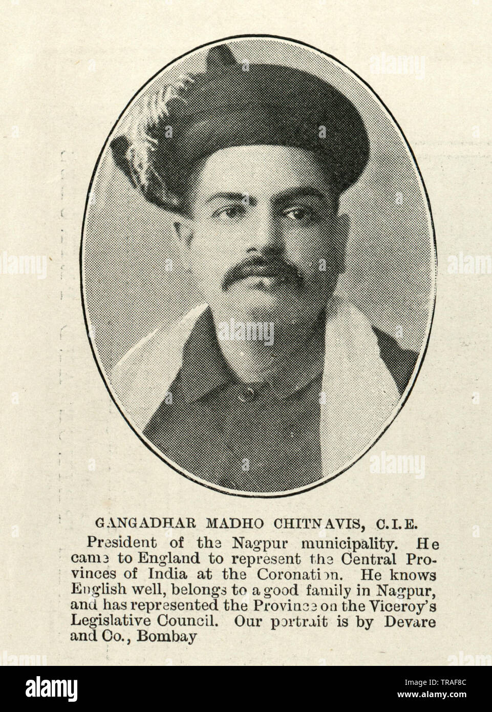 Vintage photograph of Gangadhar Rao Chitnavis, an Indian landholder and politician in the Central Provinces, British India. , 1902 Stock Photo