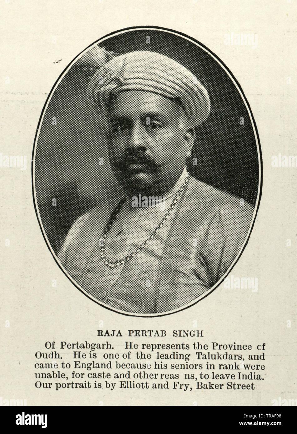 Vintage photograph of Raja Pertab Singh of Pertabgarh, 1902 Stock Photo