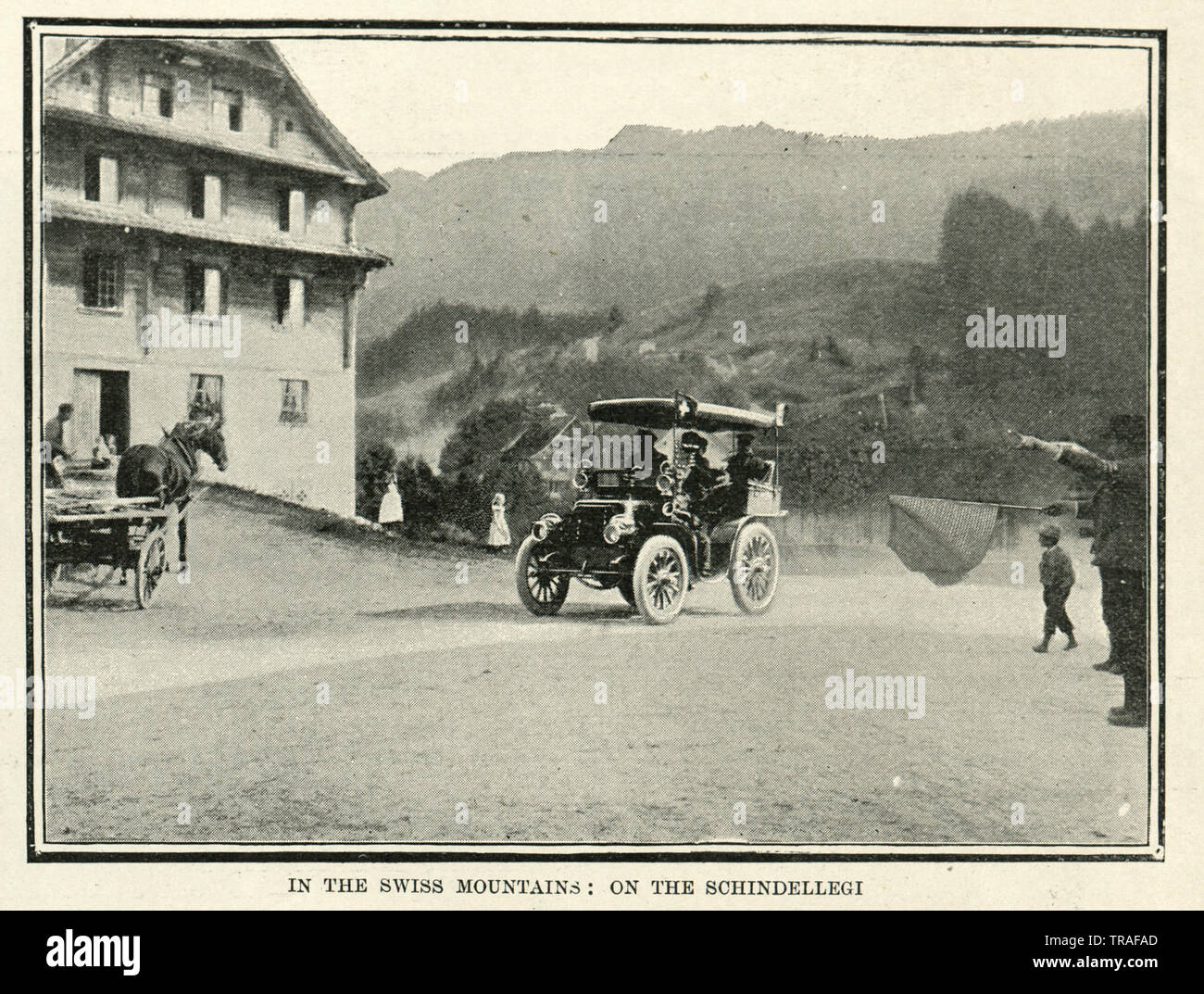 Vintage photograph of Motor car race from Paris to Vienna, 1902. In the Swiss Mountains, on the Schindellegi Stock Photo