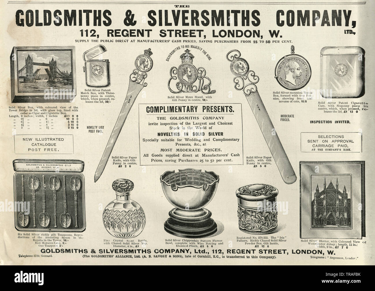 Edwardian newspaper advert for the Goldsmiths and Silversmiths Company, Regent Street, 1902 Stock Photo