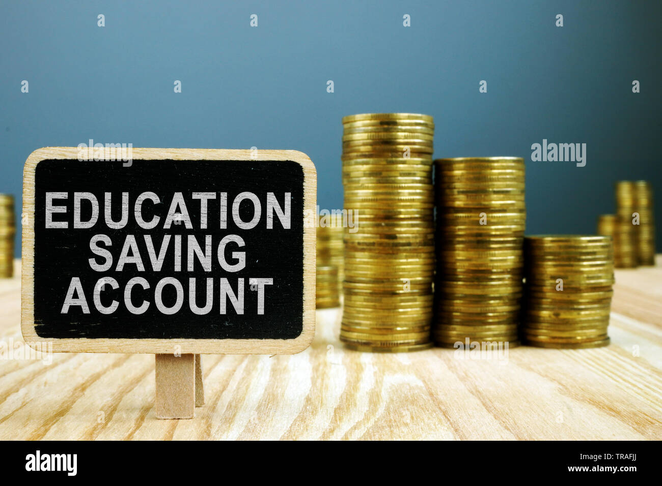 ESA Education Saving Account concept. Stack of coins. - Stock Image