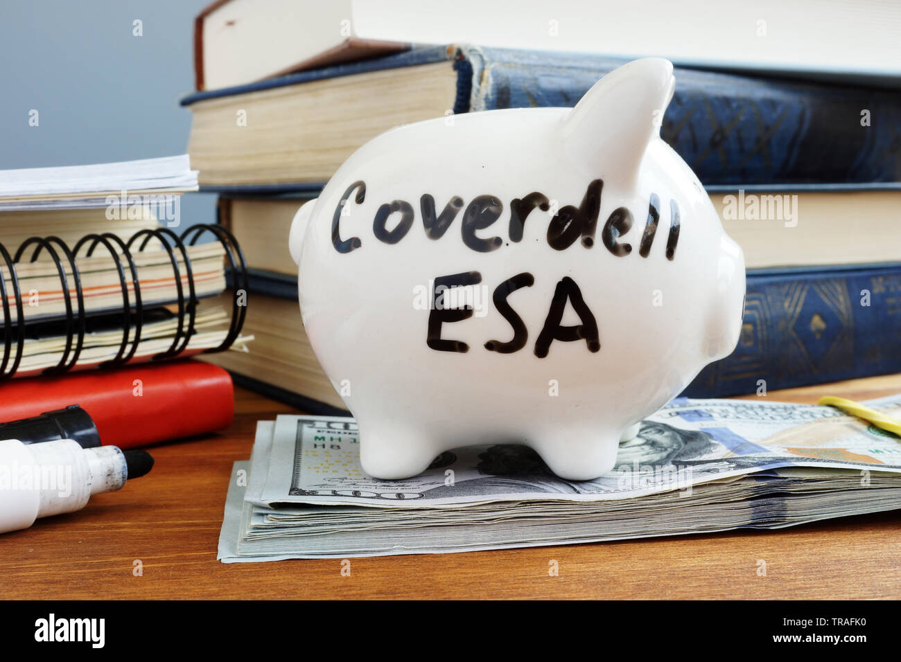 Coverdell ESA Education Saving Account. Piggy bank and money. - Stock Image