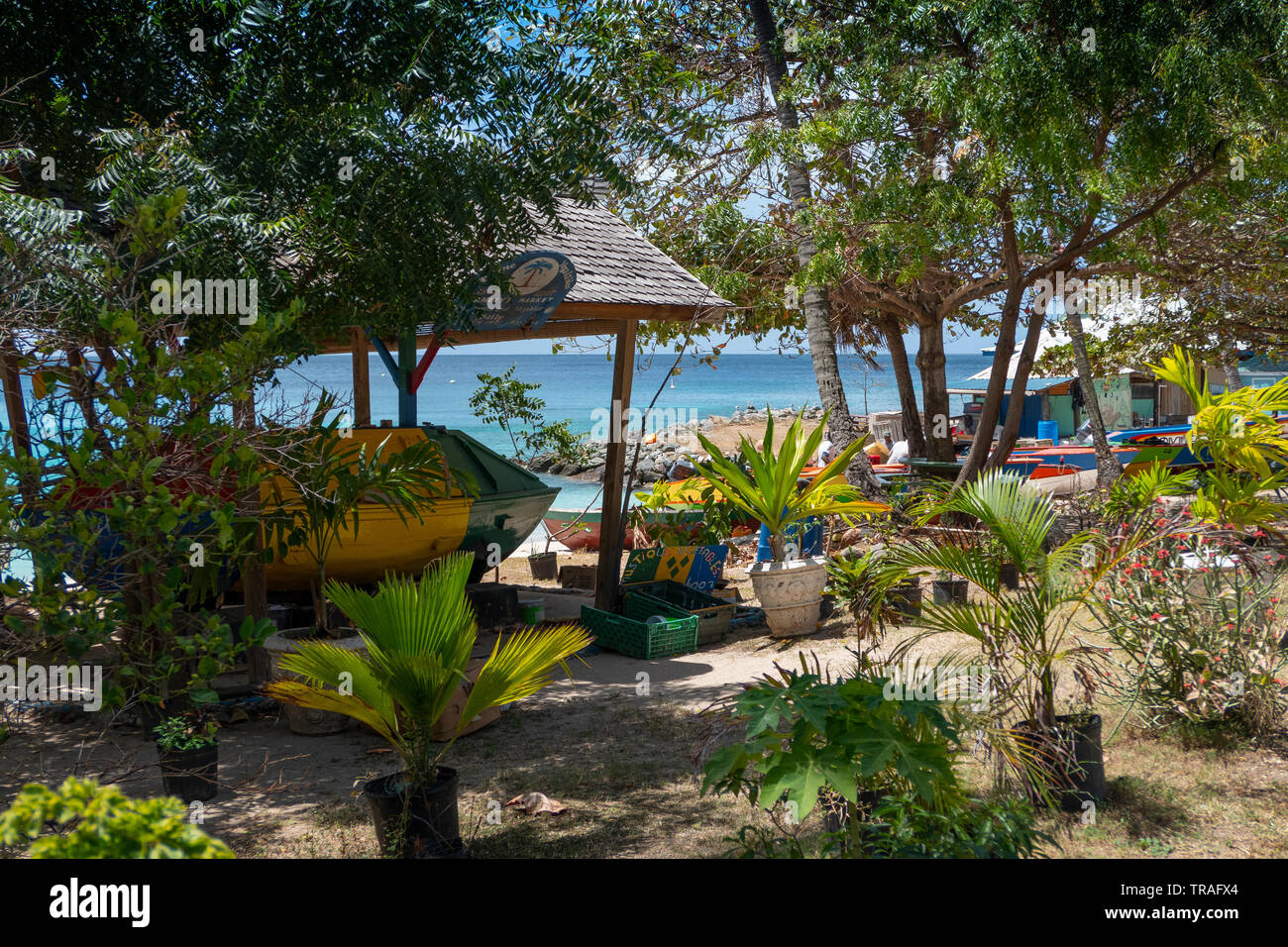 Lovell Village on the beach front on the Island of Mustique - Stock Image