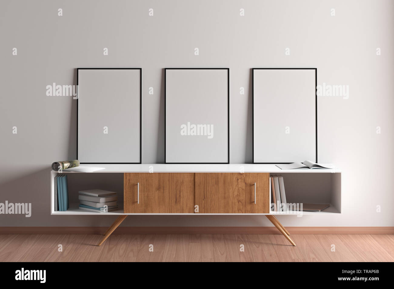 Three blank vertical posters mock up with black frame on ...