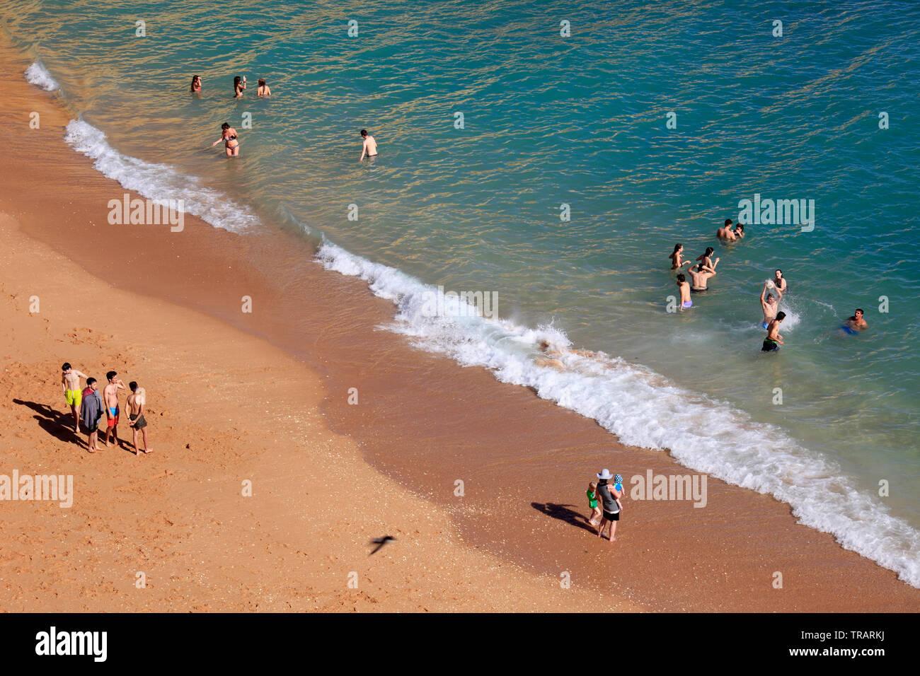 Portugal, Algarve, Carvoeiro, beach, people, Stock Photo