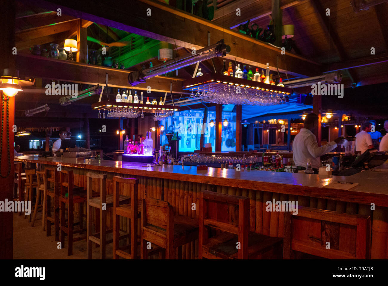 Dancefloor And Bar At Basils Mustique Stock Photos Dancefloor