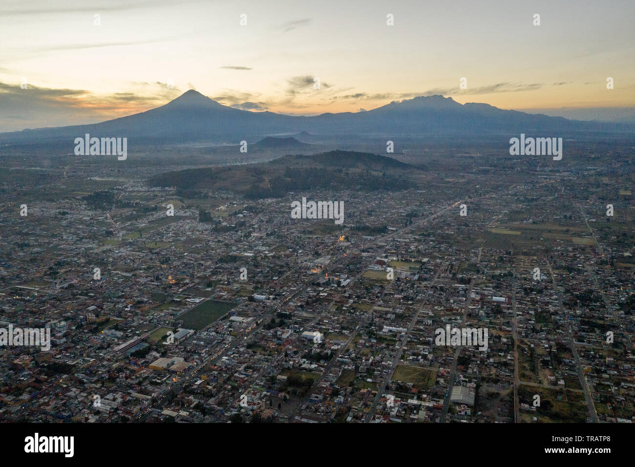 A view of Puebla, Mexico, at sunset, January 16, 2019. The state of Puebla is known for its high amounts of illegal gas theft. Stock Photo