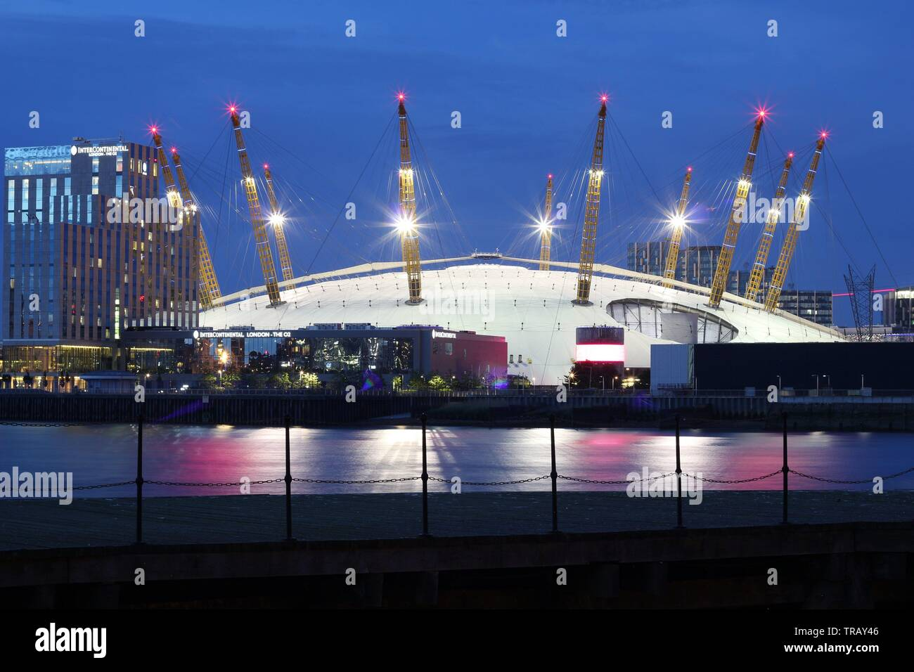 Millennium dome seen from far at night, London, England - Stock Image