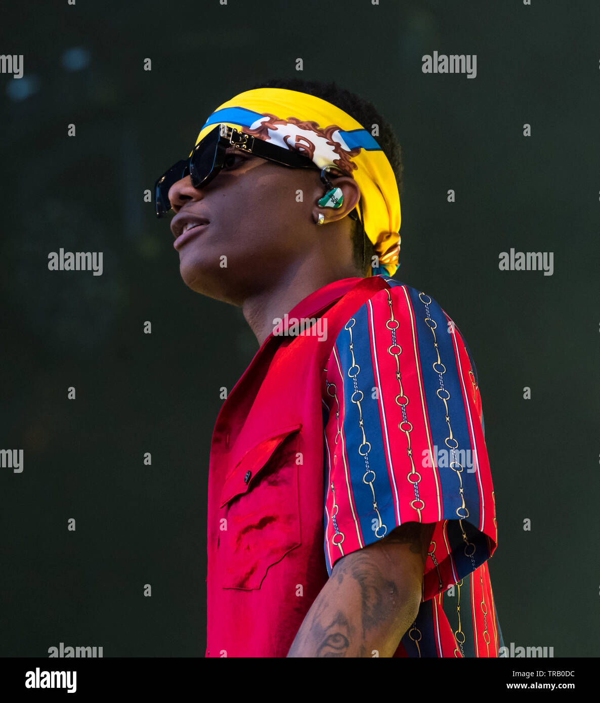 London, UK  1st June, 2019  Afrobeats Artists Wizkid performs at The