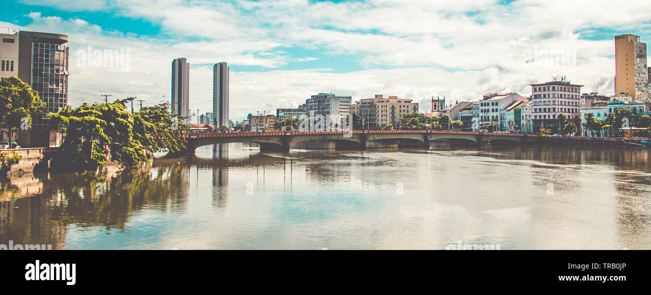 Panoramic view of the historic architecture of Recife in Pernambuco, famous bridges over the Capibaribe river - Stock Image