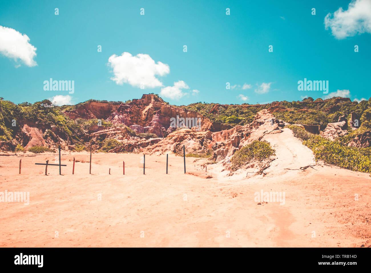 Red cliffs at Coqueirinho's beach in Conde, Paraiba, Brazil Stock Photo