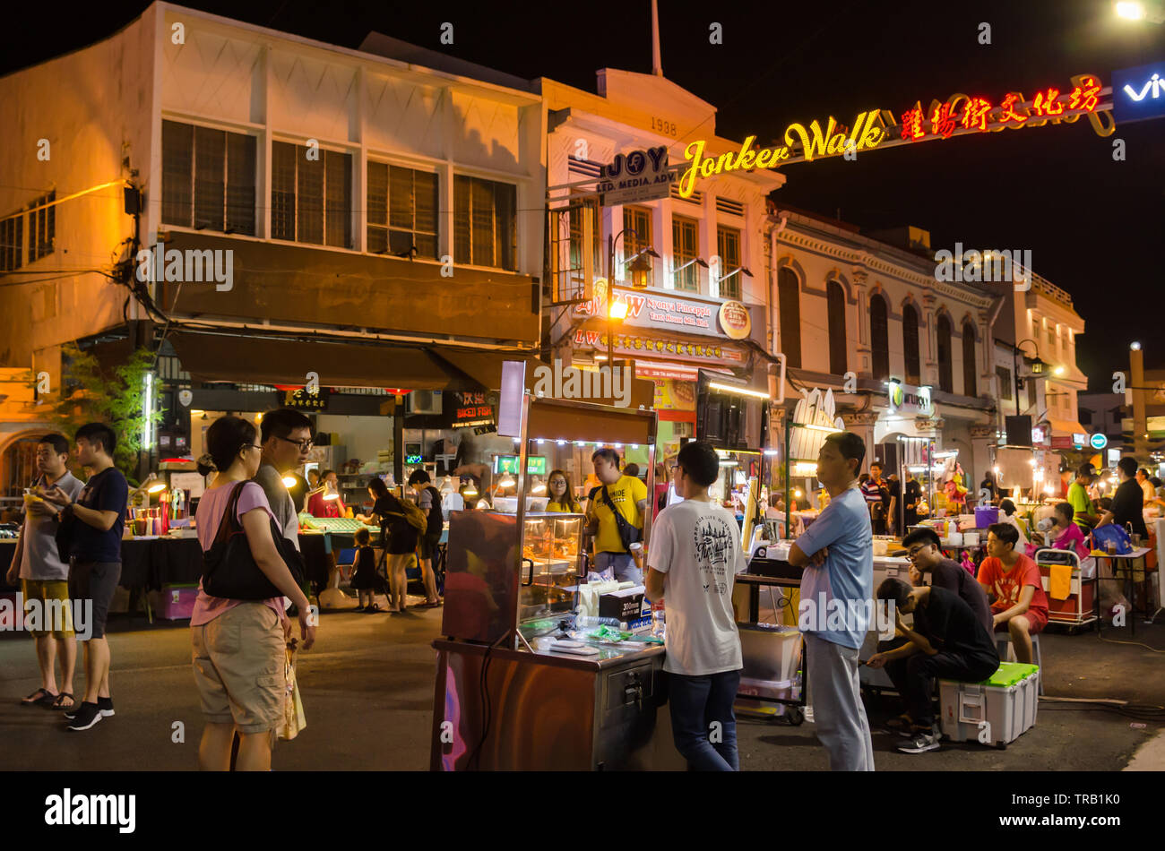 Malacca,Malaysia - April 21,2019 : The night market on Friday,Saturday and Sunday is the best part of the Jonker Street, it sells everything from tast - Stock Image