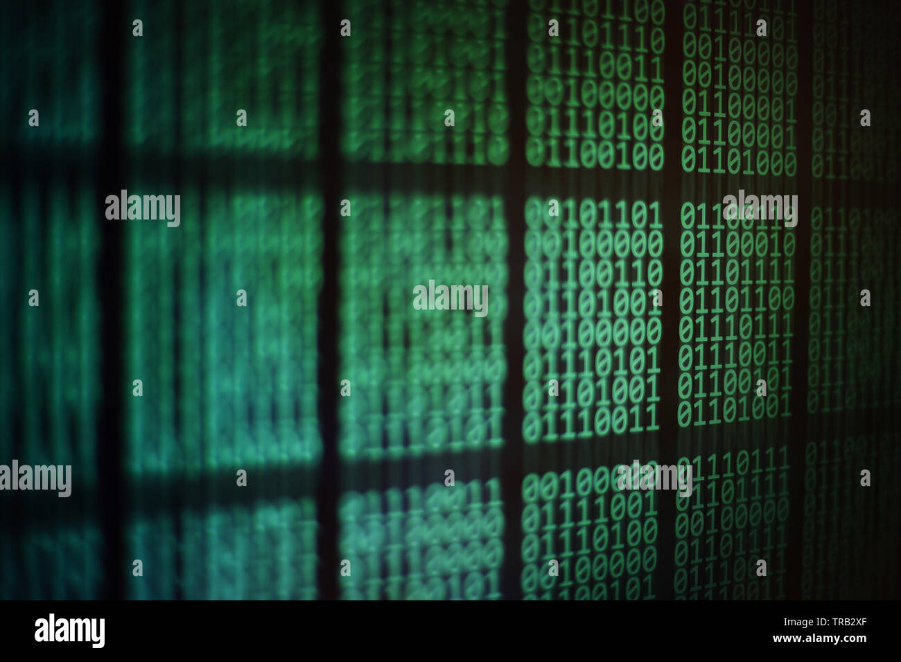 computer monitor displaying binary code. block of data on computer led panel screen. Blockchain, password, personal information, privacy and data tran - Stock Image