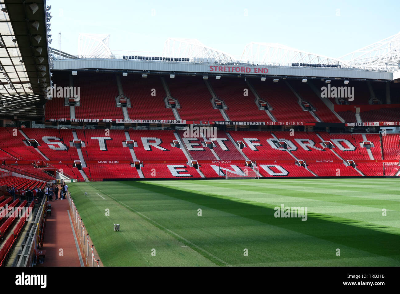 The Stretford Road End Stand at Old Trafford, Manchester United Football Club, Manchester, Lancashire, England, UK. - Stock Image