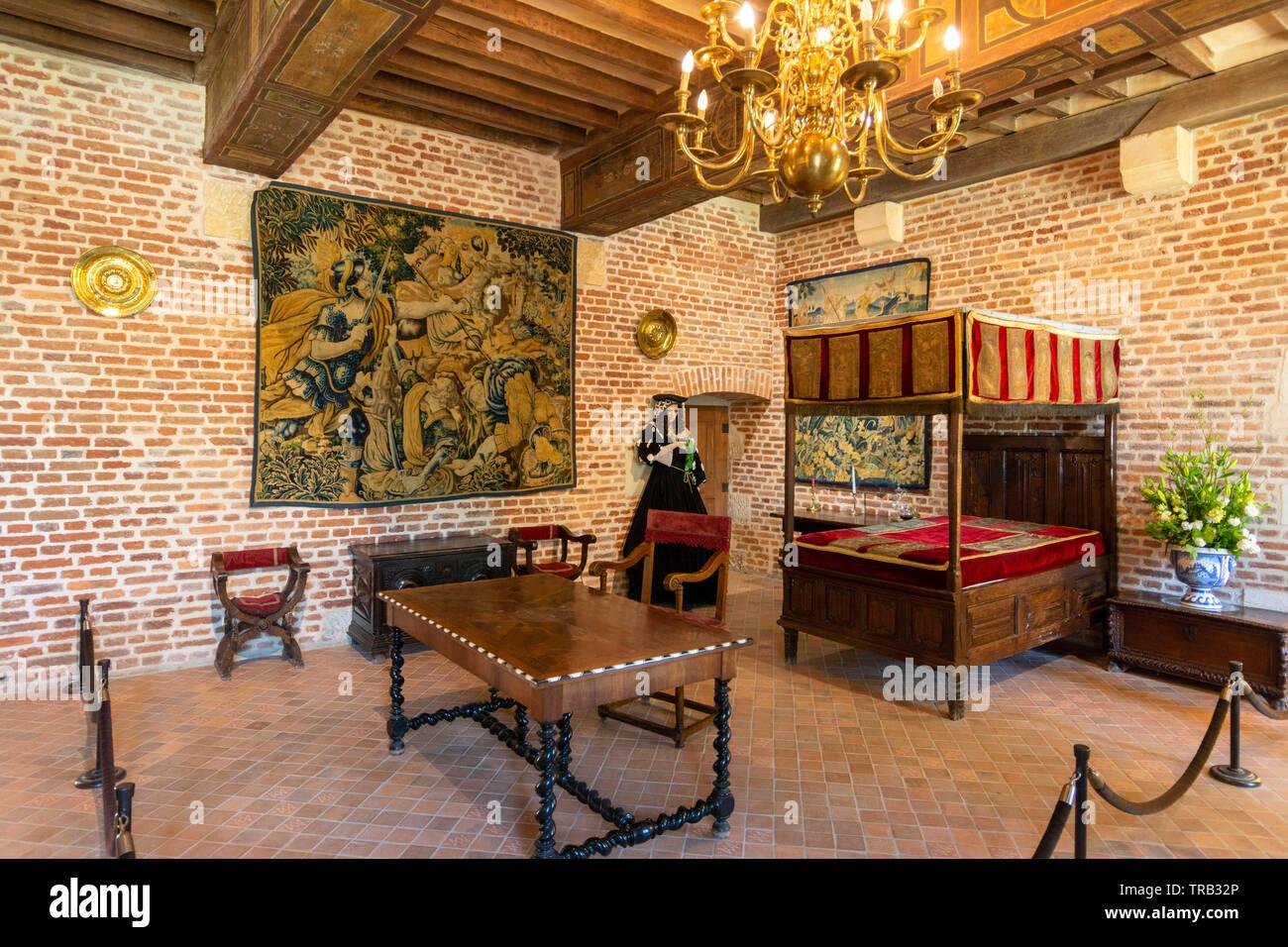 Bedroom of Marguerite de Navarre, Clos Luce, Amboise, Indre-et-Loire Departement, Centre-Val de Loire, France, Europe Stock Photo