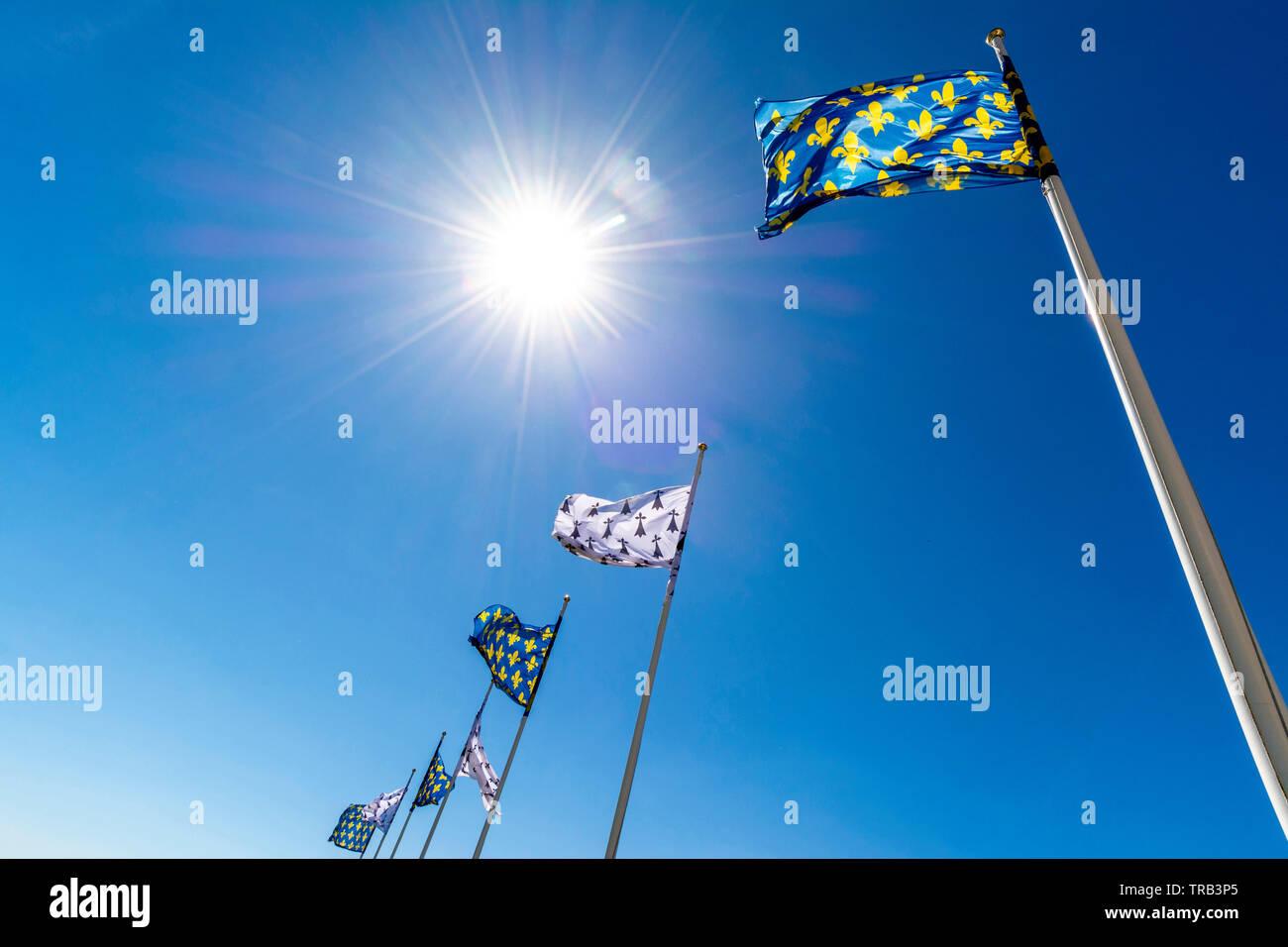 Flags of french king and Anne de Bretagne, Amboise chateau, Loire Valley, Indre-et-Loire Departement, Centre-Val de Loire Stock Photo