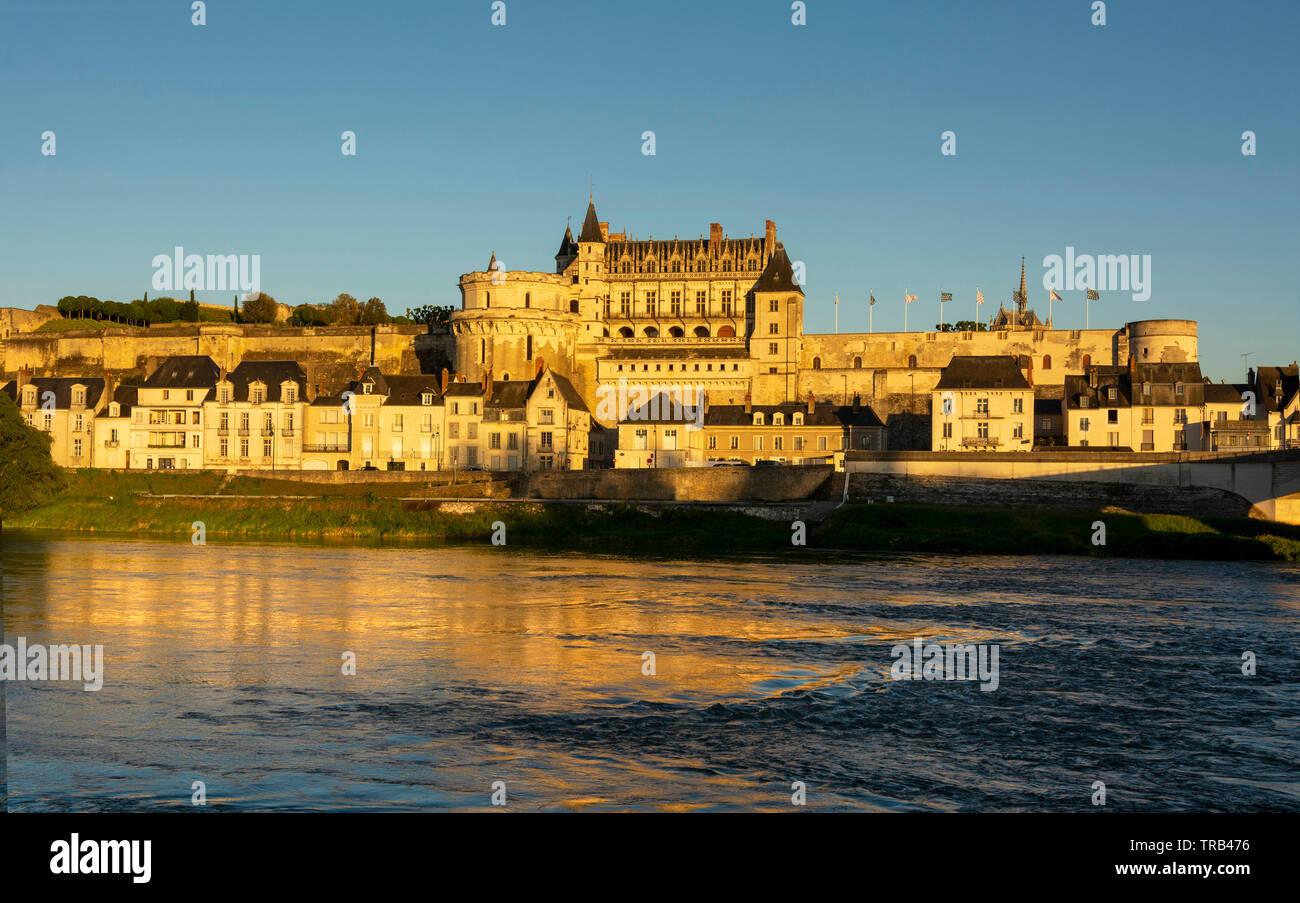 Renaissance castle of Amboise at sunset, Loire Valley, Unesco World heritage Site, Indre et loire department, Centre-Val de Loire, France - Stock Image