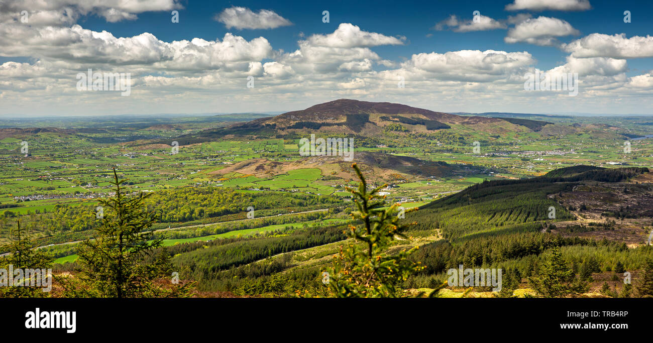 Ireland, Co Louth, Cooley Peninsula, Black Mountain, panoramic view from summit towards Slieve Gullion Stock Photo