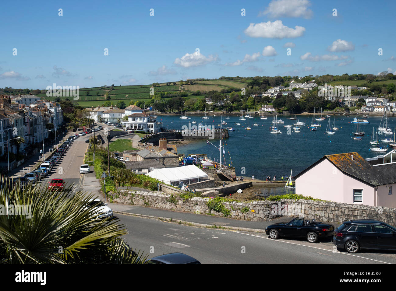Dunstanville Terrace and Falmouth harbour in Cornwall on a sunny summer's day Stock Photo