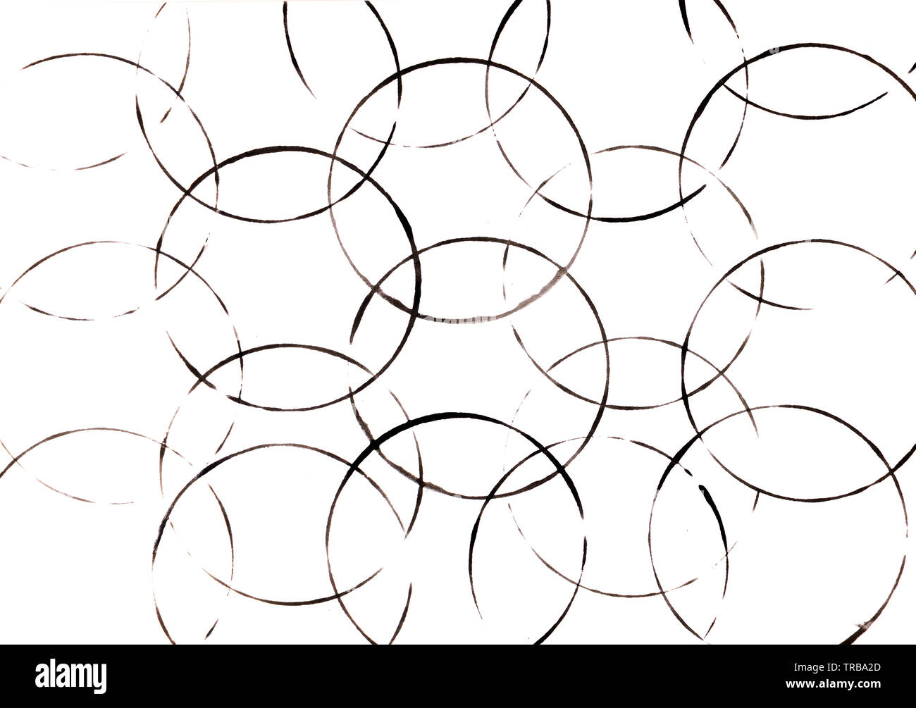 Abstract background of black round bubbles, balls on white background. - Stock Image