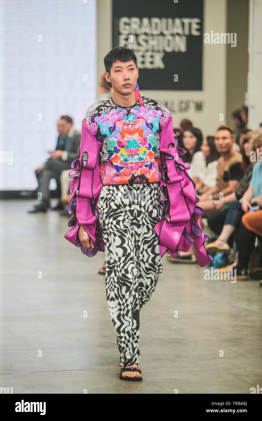 London Uk 02nd June 2019 The Graduate Fashion Week Exhibition 2019 Showcasing The The Best Graduate Fashion From Around The Country Presenting 90 Uk And International Universities Alongside Exciting And Unique Stands