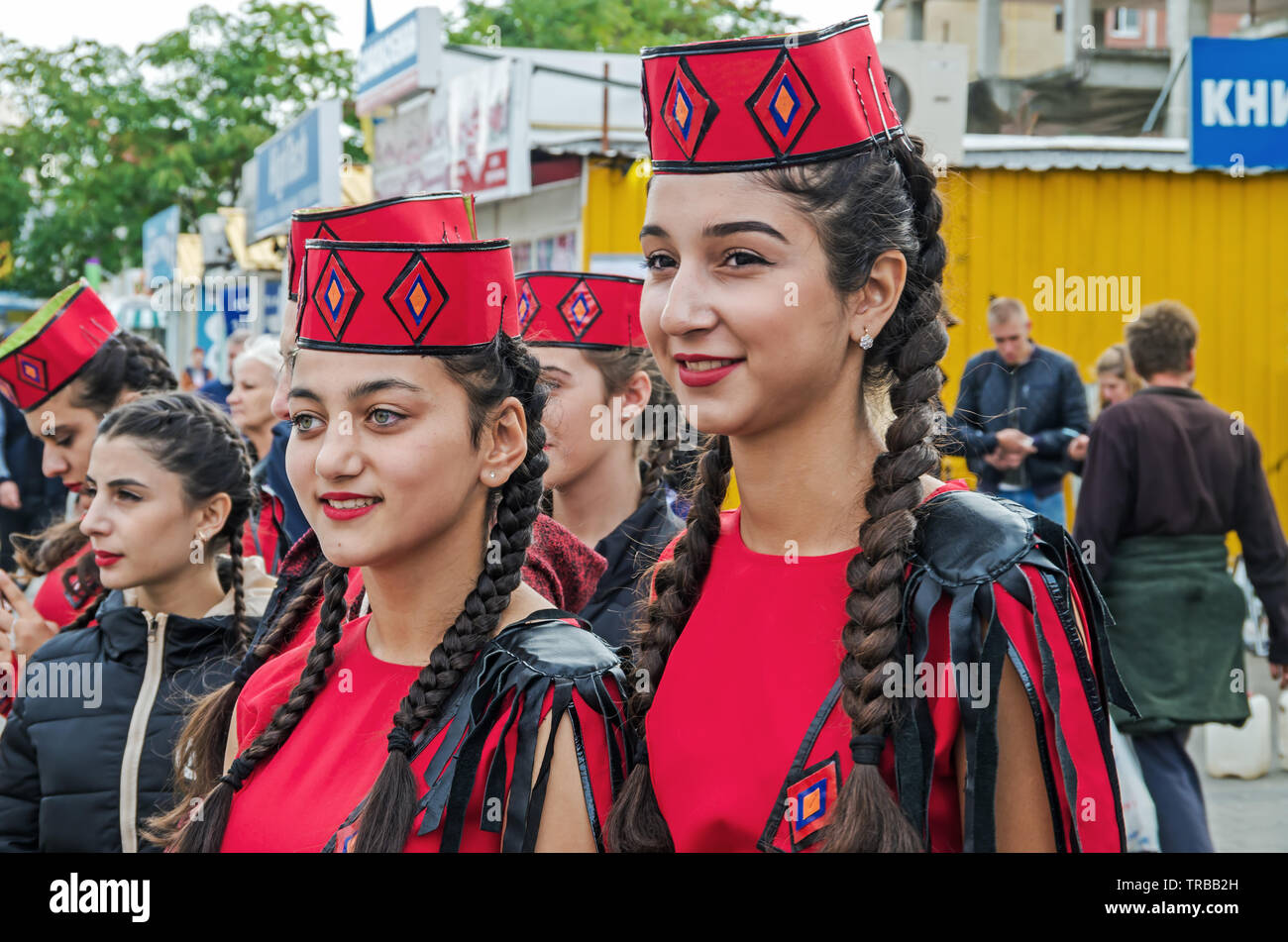 Dnipro, Ukraine - September 29, 2018: Armenian diaspora in celebration in honor of 100th anniversary of Dnipro Academic Music and Drama Theater named - Stock Image