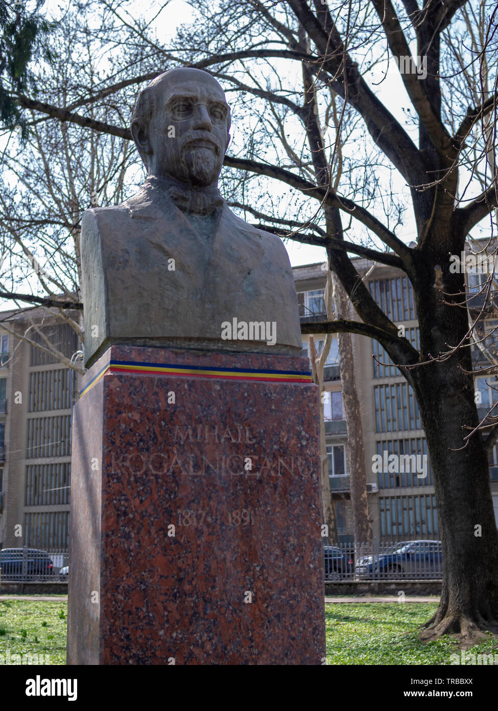 CHISINAU, MOLDOVA-MARCH 21, 2019: Mihail Kogalniceanu bust in the Alley of Classics - Stock Image