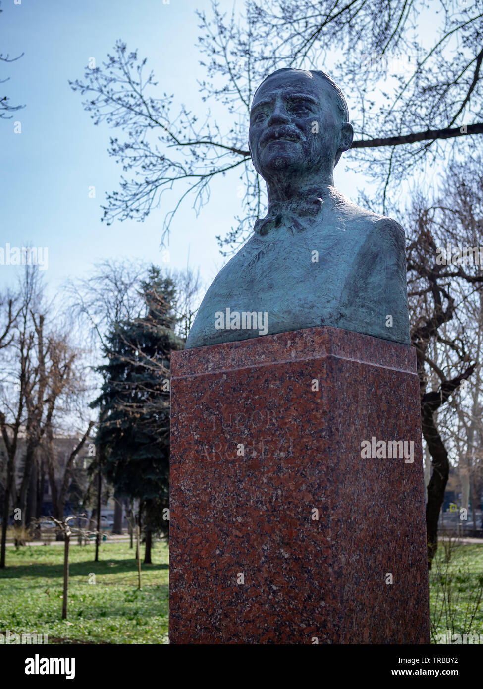 CHISINAU, MOLDOVA-MARCH 21, 2019: Tudor Arghezi bust by Dimitrie Verdeanu in the Alley of Classics - Stock Image