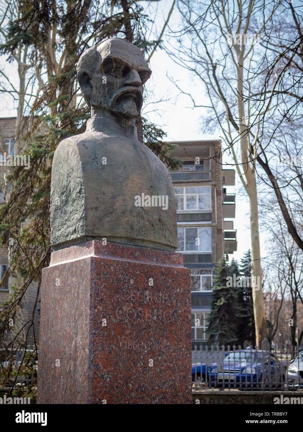 CHISINAU, MOLDOVA-MARCH 21, 2019: George Cosbuc bust by Constantin Popovici in the Alley of Classics - Stock Image