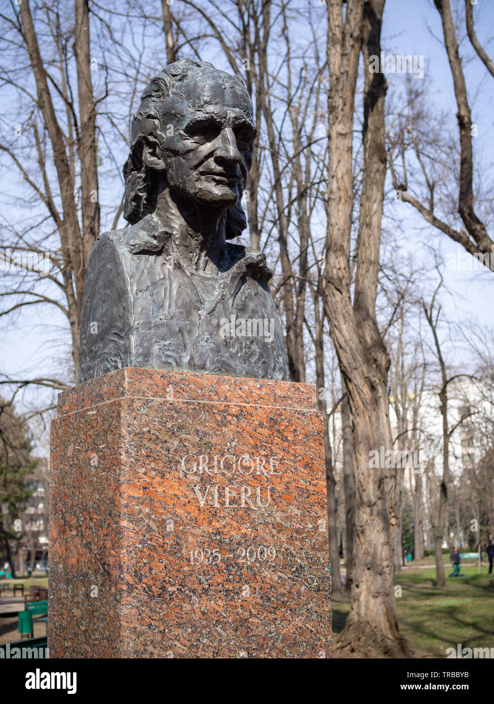 CHISINAU, MOLDOVA-MARCH 21, 2019: Grigore Vieru bust by Victor Macovei & Ruslan Tihonciuc in the Alley of Classics - Stock Image