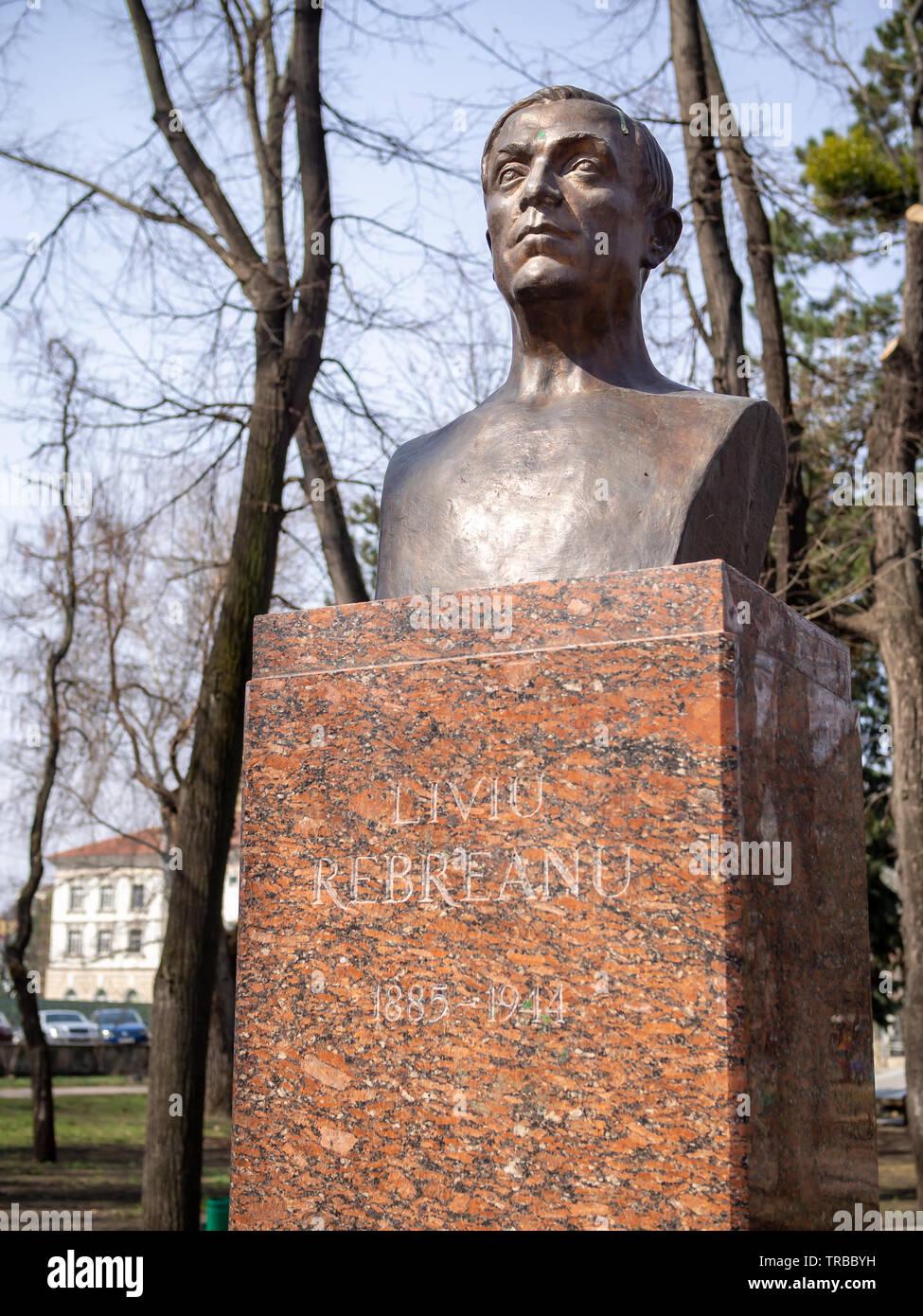 CHISINAU, MOLDOVA-MARCH 21, 2019: Liviu Rebreanu bust by Milita Patrascuin the Alley of Classics - Stock Image