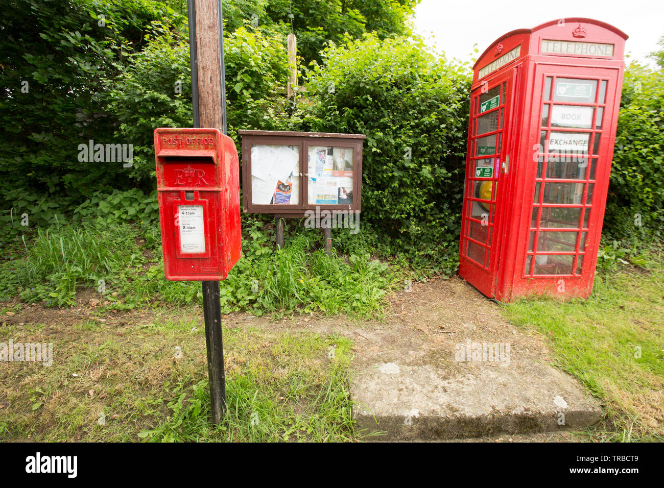 A red telephone box in rural Dorset that has been used as a book exchange. The phone box also houses a defibrillator and is next to a village notice b - Stock Image