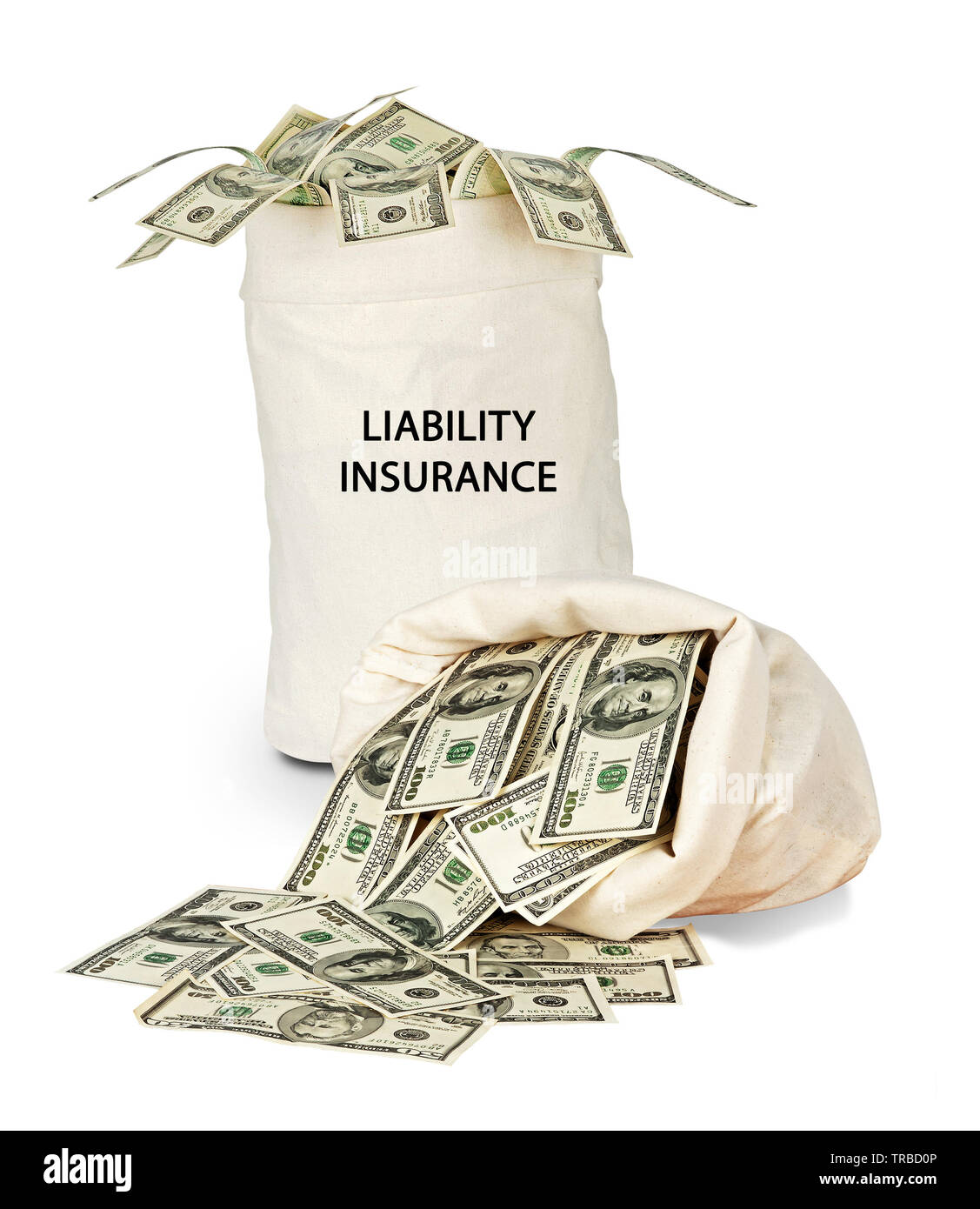 Bag with liability insurance - Stock Image