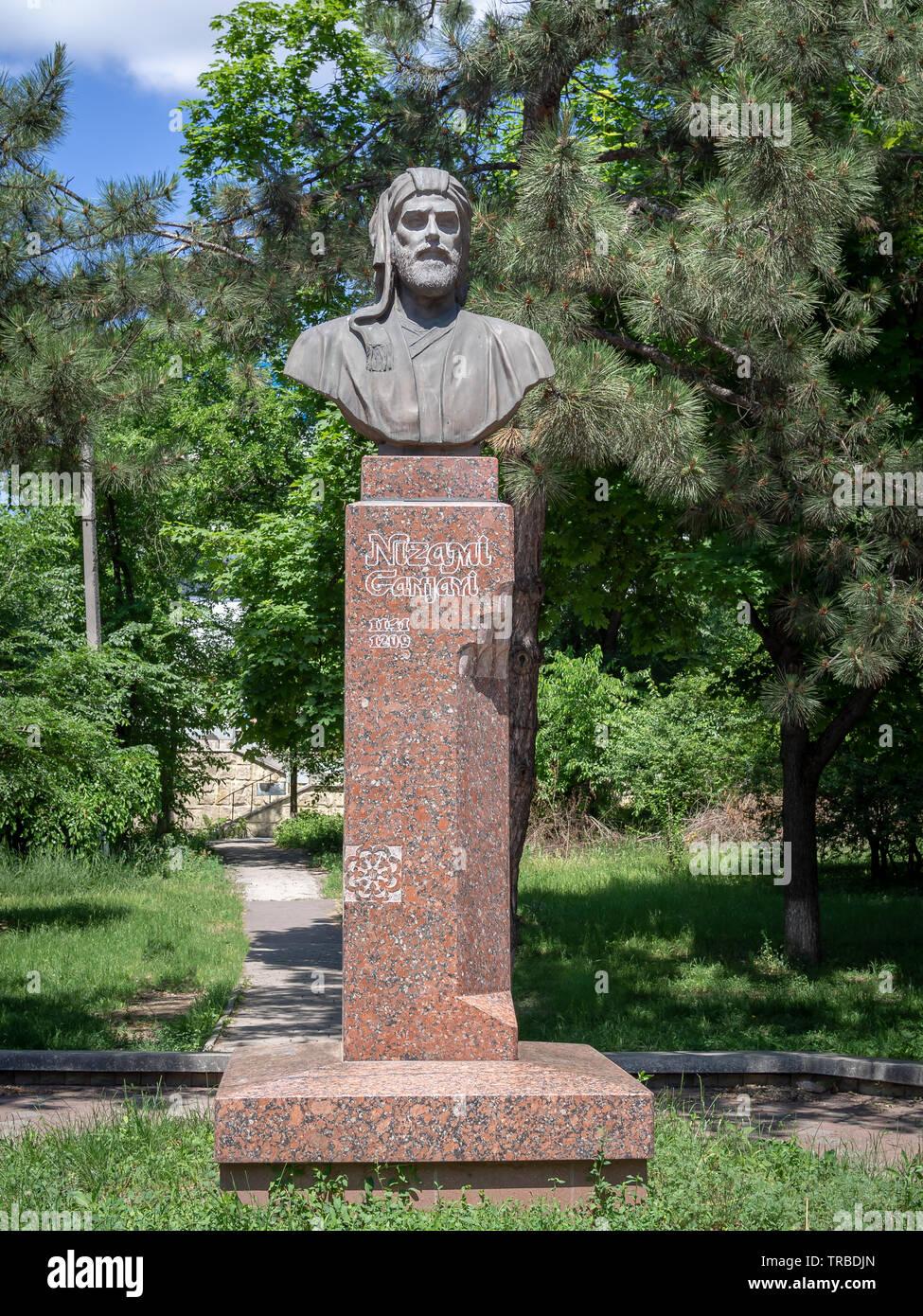 CHISINAU, MOLDOVA-JUNE 2, 2019: Nizami Ganjavi bust by Achir Ascherov - Stock Image