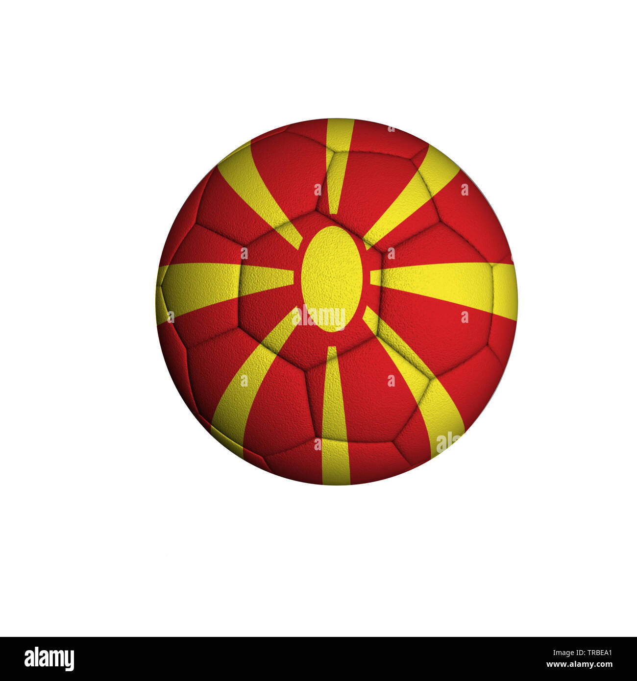 Soccer ball with the flag of Northern Macedonia isolated on a white background - Stock Image