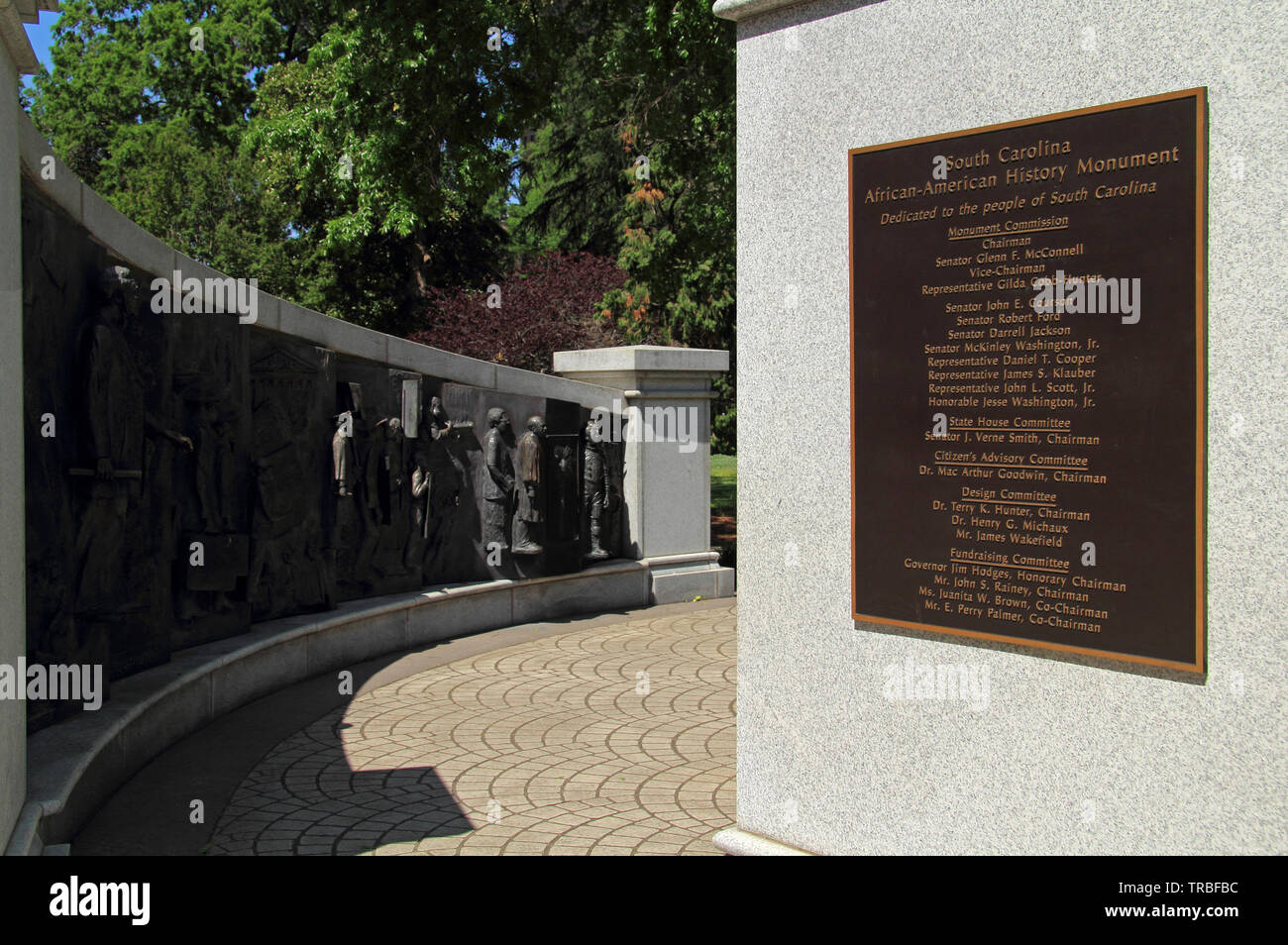 One of the numerous memorials found on the grounds of the South Carolina statehouse is dedicated to African Americans Stock Photo